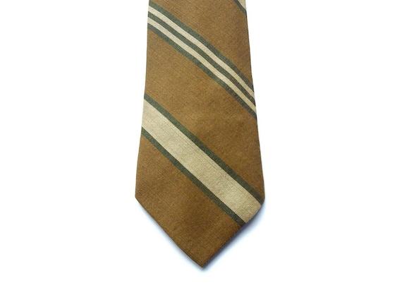 Narrow Tie In Khaki Brown Tan & Dark Green by Bost Neckwear