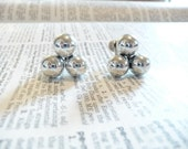 Vintage Triangle of Three Shiny Silver Balls Screw Back Earrings