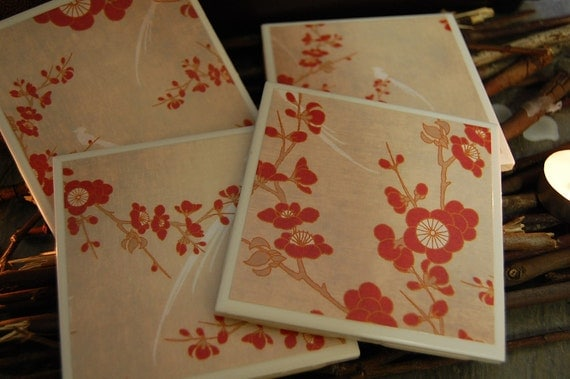 SALE....Blossoms and Branches coaster set of 4