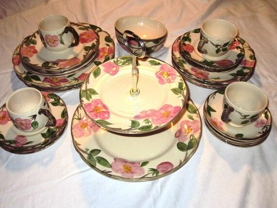 Cottage Chic Vintage Handpainted Franciscan Desert Rose Dinnerware-46 pieces