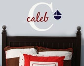 Vinyl Wall Decal Sticker Initial and Name SAILBOAT baby nursery decor