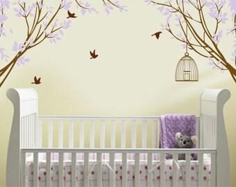 Vinyl Wall Decal Sticker Corner Branches with Decorative Vinyl Wall Bird Cage Children Nursery