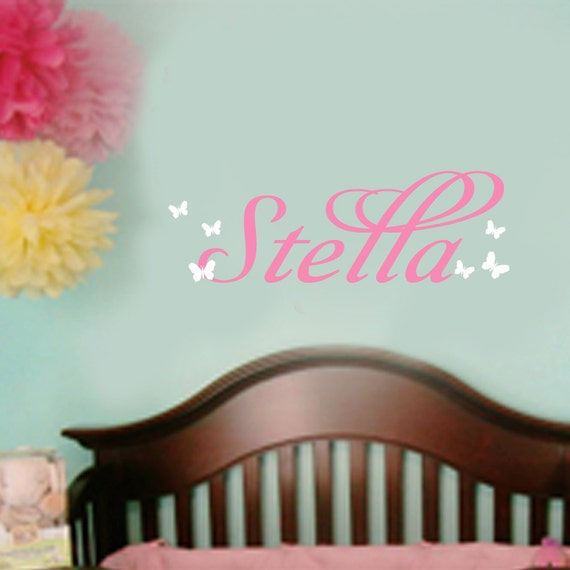 Vinyl Wall Decal Butterfly Custom Sticker Name vinyl wall decal