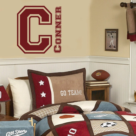 vinyl wall decal sticker varsity monogram initial and name
