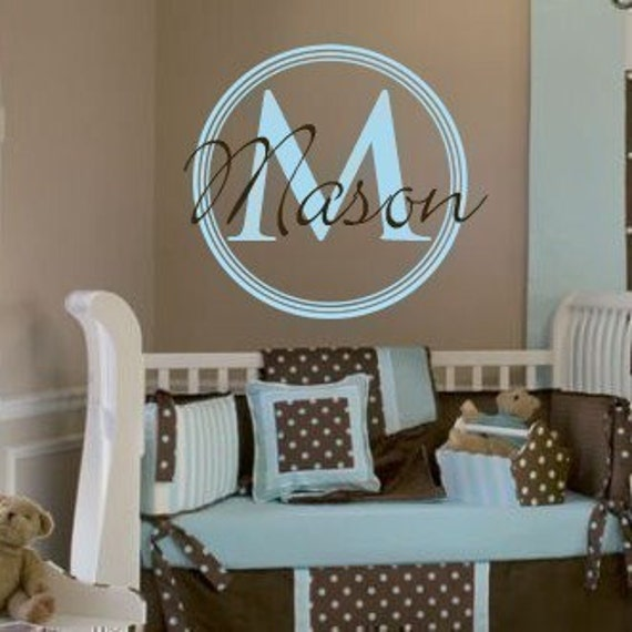 Vinyl Wall Decal Sticker Circle Monogram baby nursery decor