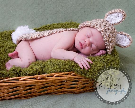 Easter Baby Bunny Rabbit Hat Cape Set, Newborn Photo Prop (Photography)