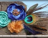 Peacock Feather Headband, Blue, Turquoise, Rust, Hair Bow, Hair Accessories, Fabric Flower Brooch, Hair Flowers, Peacock Hair Clip