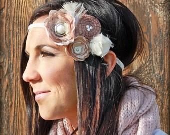 Peach, White, Brown, Mauve Hair Accessory, Baby Girl's Hair Clip, Headband, Women's Fabric Flower Brooch, Jewelry, Baby Hair Photo Prop