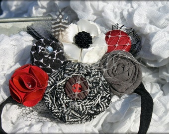 Red, Black, Grey Headband, Fabric Flowers, Flower Hair Accessories, Hair Clip, Fabric Flower Brooch, Baby Girl Hair Bow, Infant Headband