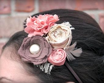 Coral, Mauve, Brown, Cream Fabric Flower Headband, Ivory, Salmon Hair Clip, Fabric Flower Brooch, Coral Hair Piece, Burlap Flower