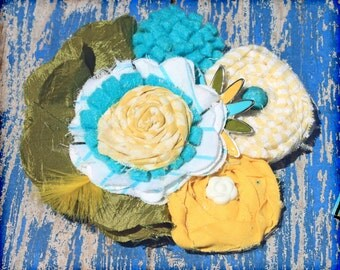Flower Hair Bow, Hair Accessories, Yellow, Turquoise, Green Hair Accessory, Baby Girl Headband, Fabric Flower Brooch, Flower Hair Piece