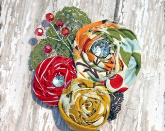Red, Olive Green, Mustard Yellow Flower Headband, Hair Accessories, Baby Girl Hair Bow, Hair Clip, Fabric Flowers Brooch