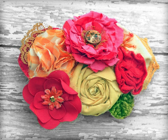 Coral, Mustard, Pink Hair Accessories, Red, Flower Girl Headband, Baby Girl Hair Bow, Fabric Flowers Headband, Hair Clip, Floral Brooch Pin