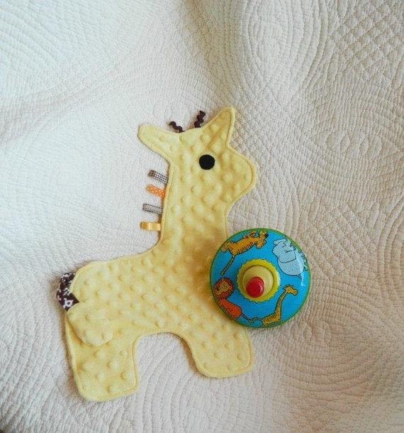 Yellow Crinkle Baby Giraffe Snugglie