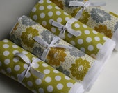 Flour Sack Towels- Merry Set of Four Spring Green Floral & Dot,Mothers Day Gift, Spring Home Update, Spring Cleaning, Cottage Chic