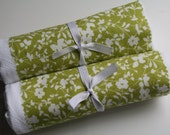 Flour Sack Towels- Merry Set of Two Spring Green Floral, Farmhouse Chic, Spring Home Update, Mother's Day, Cottage Chic, Housewares