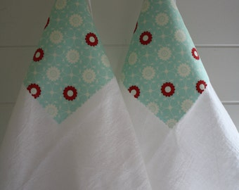 Flour Sack Towels- Merry Set of Two Aqua and Red Daisy, Kitchen Decor, Spring Home Update, Mother's Day, Cottage Chic, Housewares