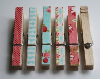 Merry Clothespin Magnets- Set of 6, Shabby Chic, Kitchen Decor, Cottage Chic, Romantic Home, Office Decor, Girl's Room