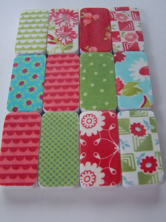 Magnets- Merry Set of 12 Repurposed Dominos: Merry Mix, Aqua and Red, Cottage Chic, Housewares, Office Decor, Spring Inspiration