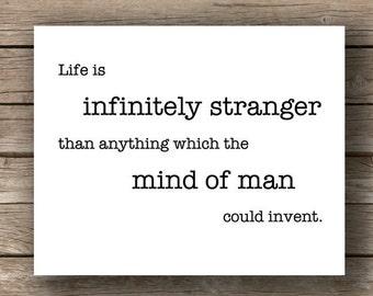 Sherlock Holmes: Infinitely Stranger, Typography Wall Art , Quote Print, Steampunk Decor, Literary Art, Literature Poster