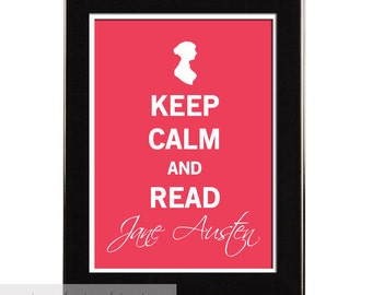 Keep Calm Jane Austen, Vintage Inspired Typography Wall Art,  Literary Art, Literature Poster, Steampunk Decor, Dorm Decor, 8x10