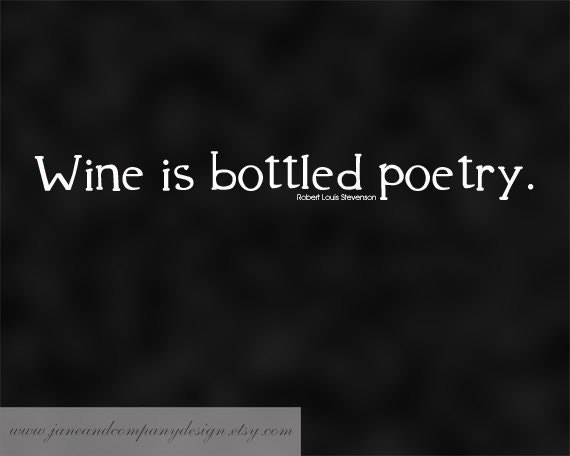Wine is Bottled Poetry, Stevenson, Wall Art Typography Print, Wine Quote, Home Decor, Literature Poster, Writer Gift, Literary Art