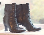 Black leather granny boot size 7