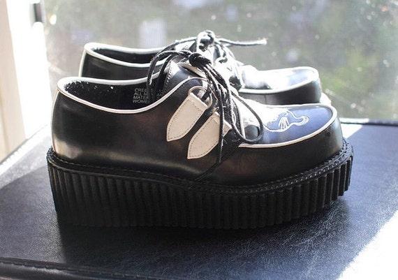 Vintage Demonia Creeper platform shoes for women black white size 6