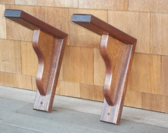 Mahogany Plant Hangers - Shelf/Mantle brackets- Teak Oil
