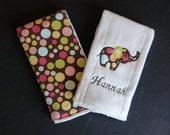Custom Boutique Elephant Retro Applique Personalized Burp Cloth Set of 2 - You Choose Fabric