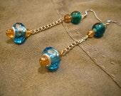 Glass Bead Saucer, Chain Earrings