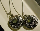 Crackled Silver and Black Dangle Earrings