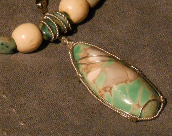 Hand Wrapped Spiderweb Variscite with Wood and Crazy Lace Agate