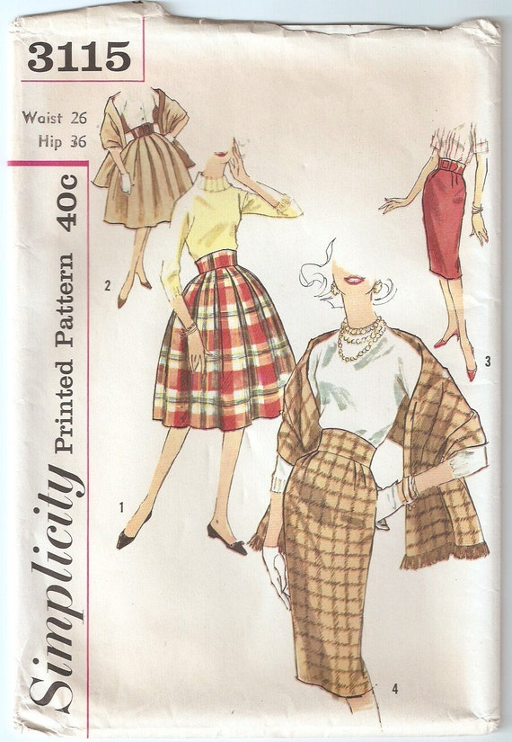 Vintage 1959 Simplicity Pattern 3115 Set of Skirts and Stole Waist 26