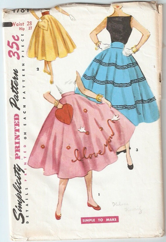 Vintage 1954 Simplicity Pattern 4784 Teenage Circle Skirt Waist 28