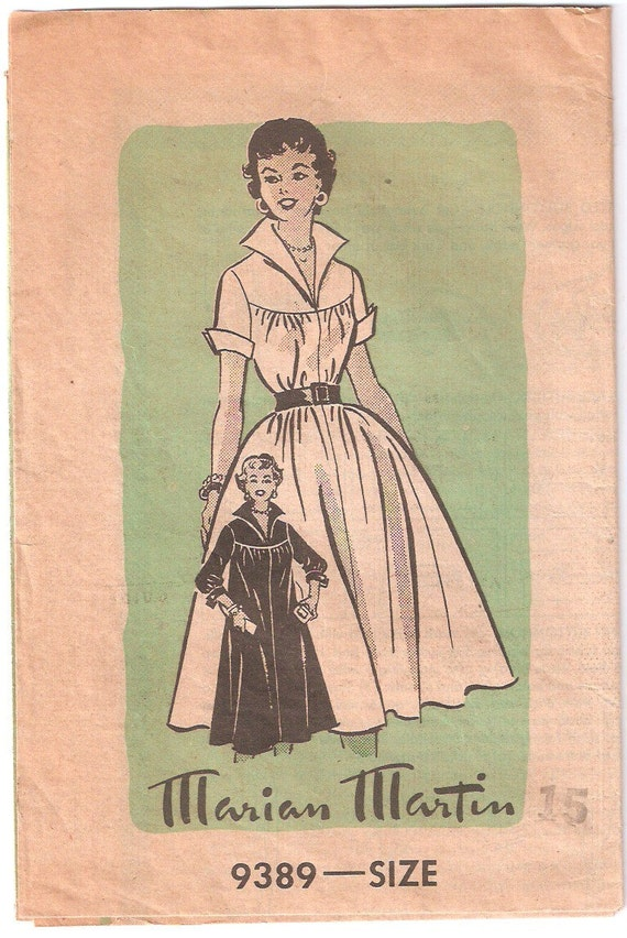 Vintage 1950s Marian Martin Pattern 9389 Misses Dress Size 15 Bust 33