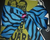 blue and pink zebra bow hair clip