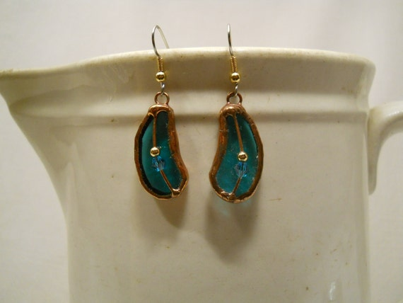 Earrings Teal Green Stained Glass