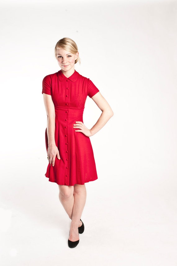 1950s Betty Barclay Red Dress