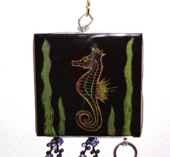 Hand Etched Sea Horse, Decorative Wire Wrapped Ceramic Tile Key Hook Organizer, Jewelry Organizer, Key Rack, Home Decor, Free Shipping