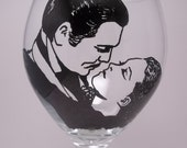 Gone With the Wind, Scarlett and Rhett, The Kiss, painted wine glass