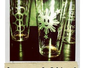 SMILING FILIPINO SUN - Hand Etched Pint Glass