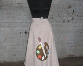 70's Wrap Skirt with Painter's Palate applique