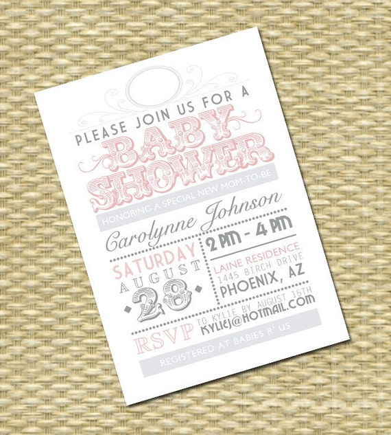 Baby Shower Invitation Vintage Typography Poster Style Baby Sprinkle Sip and See Diapers and Wipes Baby Girl Baby Boy, ANY COLORS, Any Event