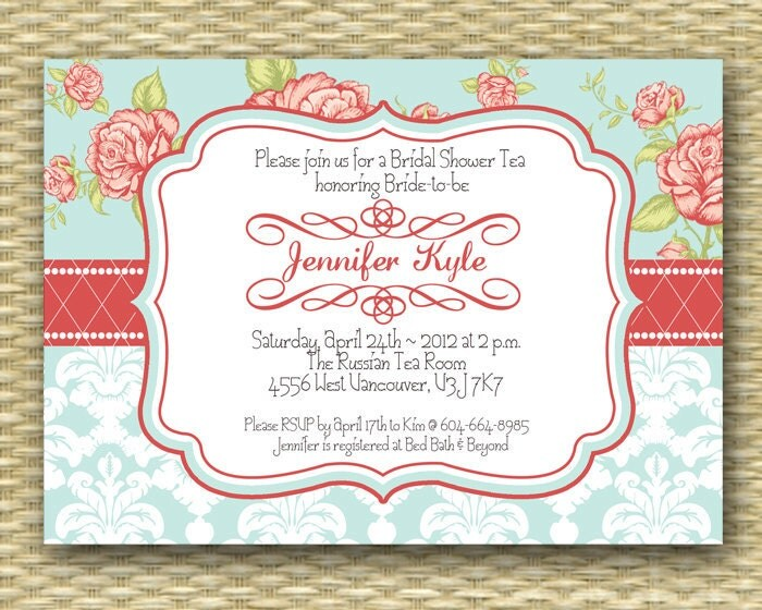 Shabby Chic Bridal Tea Invitation Bridal Shower Invite Vintage