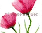 ACEO original watercolor watercolour pink peony poppy flower bookmark Anne Londez SRA OOAK