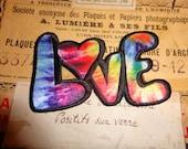 """90s Hippie """"LOVE"""" Tie Dye Iron On Grunge Alien Patch"""