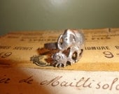Silver Hippie Metalwork Boho Elephant with baby Motif Ring