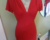 Vintage 50s 90s Crimson Red Plunge Sleeveless Evening Gown Cocktail Dress Size 8