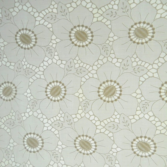Vintage floral fabric, cotton eyelet fabric, embroidered fabric, white fabric, groovy 1970s cutwork white batiste fabric